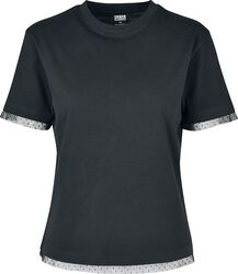 Ladies Boxy Lace Hem Tee