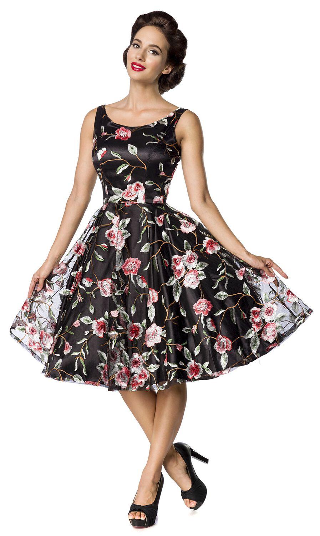 Kleider für Frauen - Belsira Retro Flower Dress Dark Kleid schwarz  - Onlineshop EMP