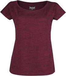 Rotes T-Shirt in Melange-Optik
