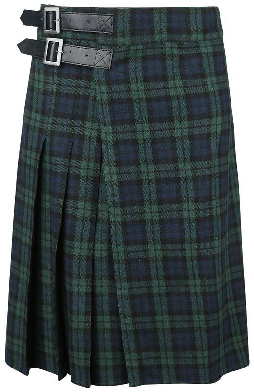 Blau/grüner Kilt mit seitlichen Schnallen