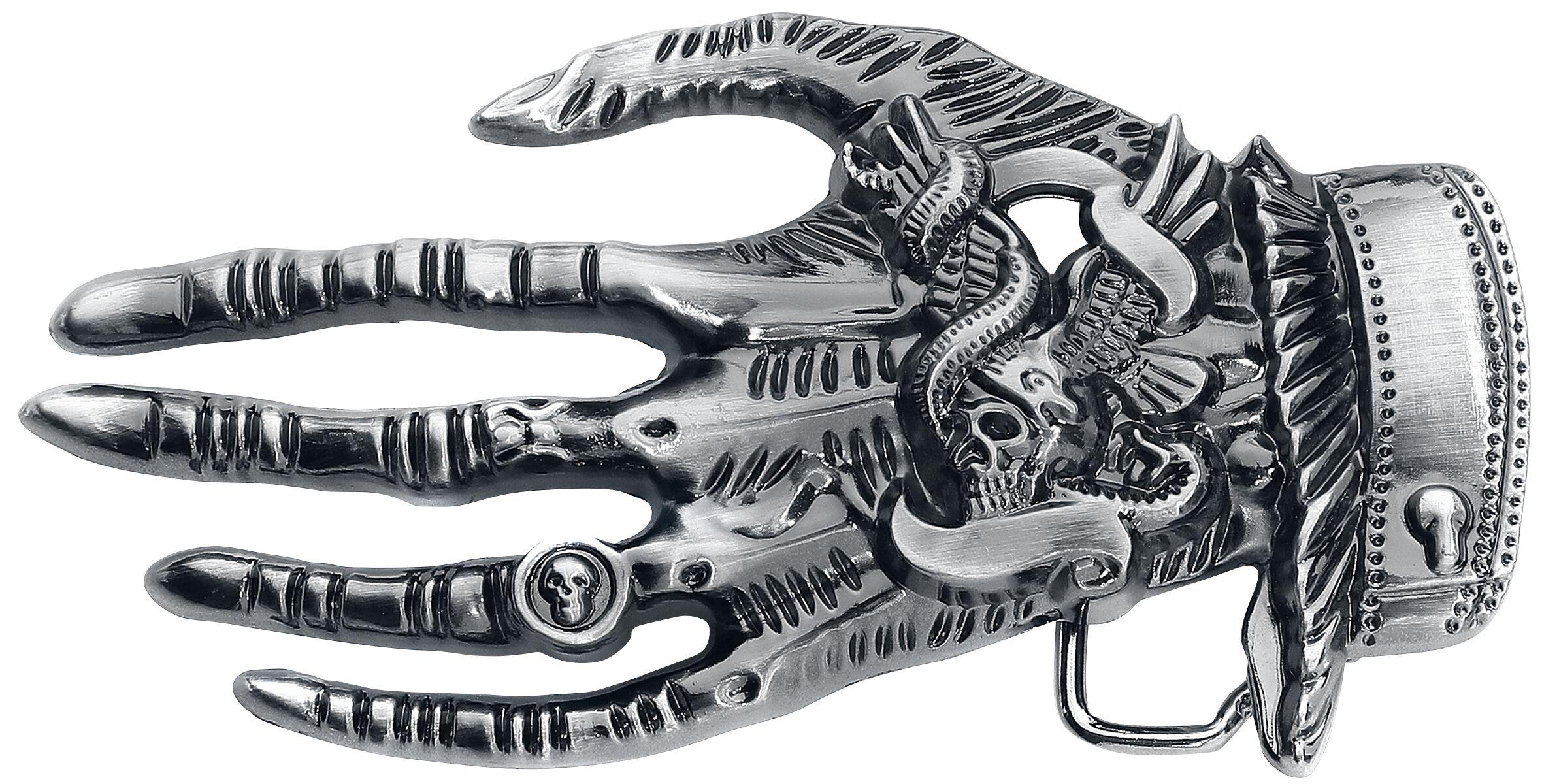 Banned Alternative Death Hand  Gürtelschnalle  gun metal