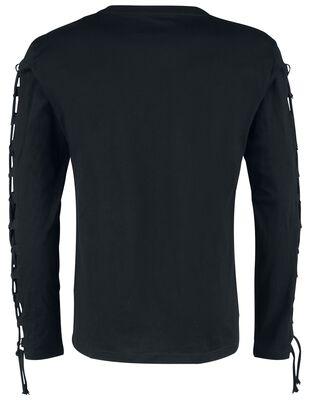 Langarmshirt mit Frontprint und Schnürung an den Ärmeln