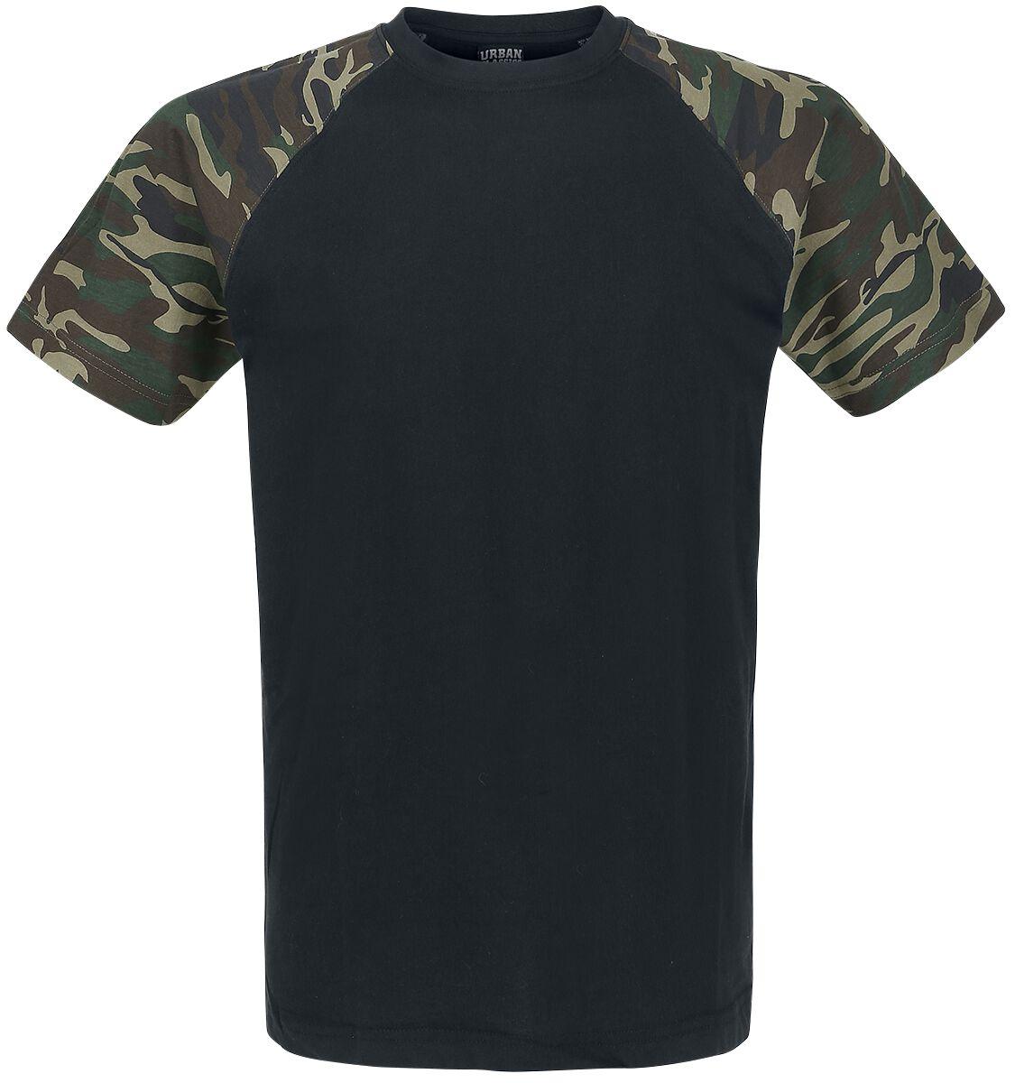 Urban Classics Raglan Contrast Tee T-Shirt schwarz woodland TB639 black/woodland