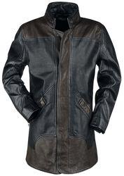 Braun/schwarzer Ledermantel mit Reißverschluss am Rücken