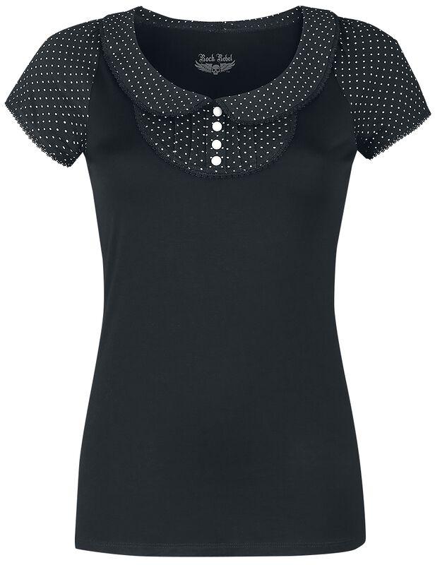 T-Shirt mit Bubikragen und Punkten