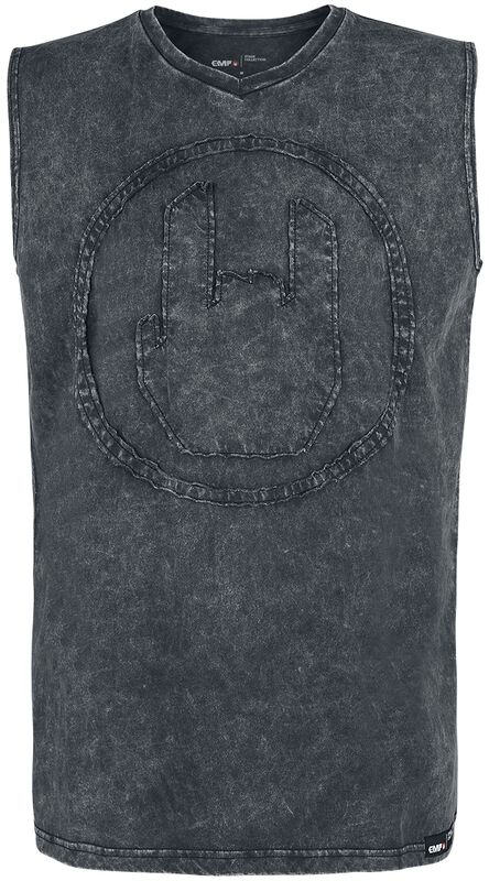 Graues Top mit Waschung und Rockhand-Applikation