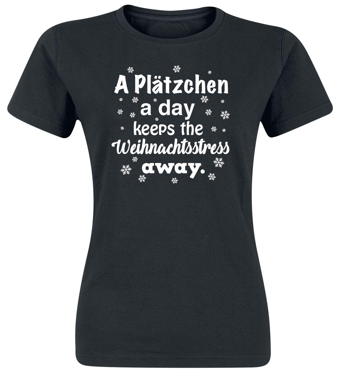 Image of A Plätzchen A Day Keeps The Weihnachtsstress Away. Girl-Shirt schwarz