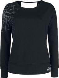 Sport und Yoga - Schwarzes Sweatshirt mit detailreichem Print und Rückenausschnitt