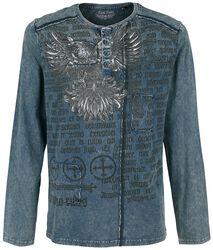 blaues Langarmshirt mit Waschung und Print