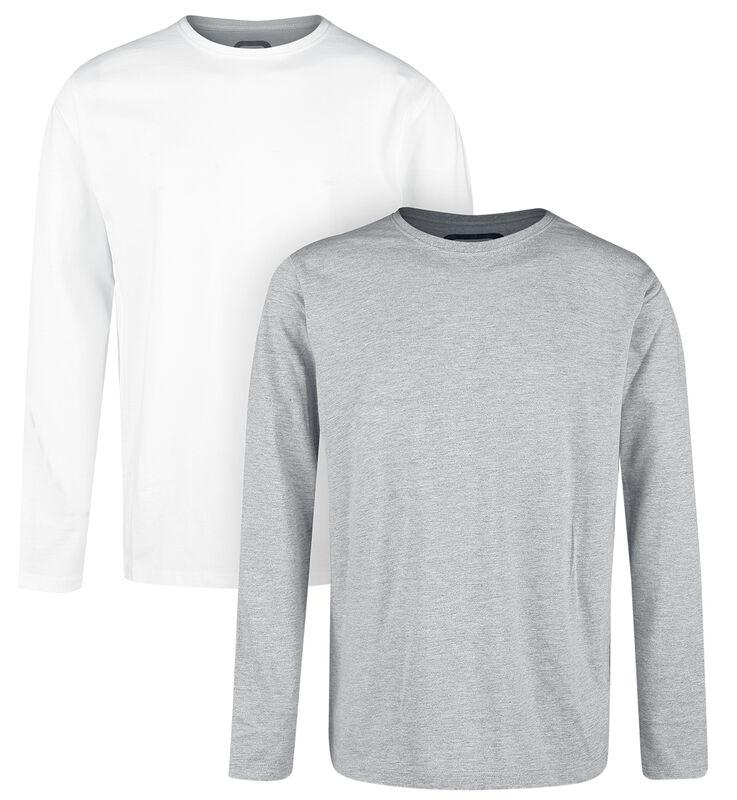 Doppelpack Longsleeves Weiß und Grau mit Rundhalsausschnitt