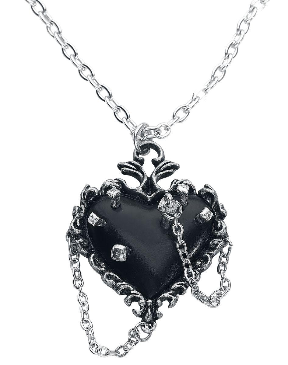 Alchemy Gothic Witches Heart Halskette silberfarben P855