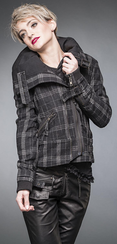 Jacken für Frauen - Queen Of Darkness karierte Winterjacke mit Gürtel Winterjacke schwarz grau  - Onlineshop EMP