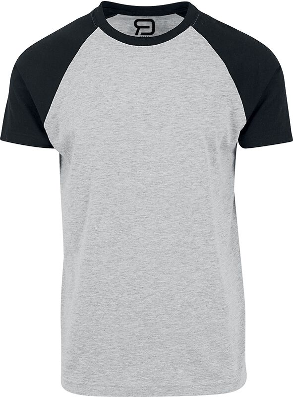 grau meliertes T-Shirt mit schwarzen Ärmeln