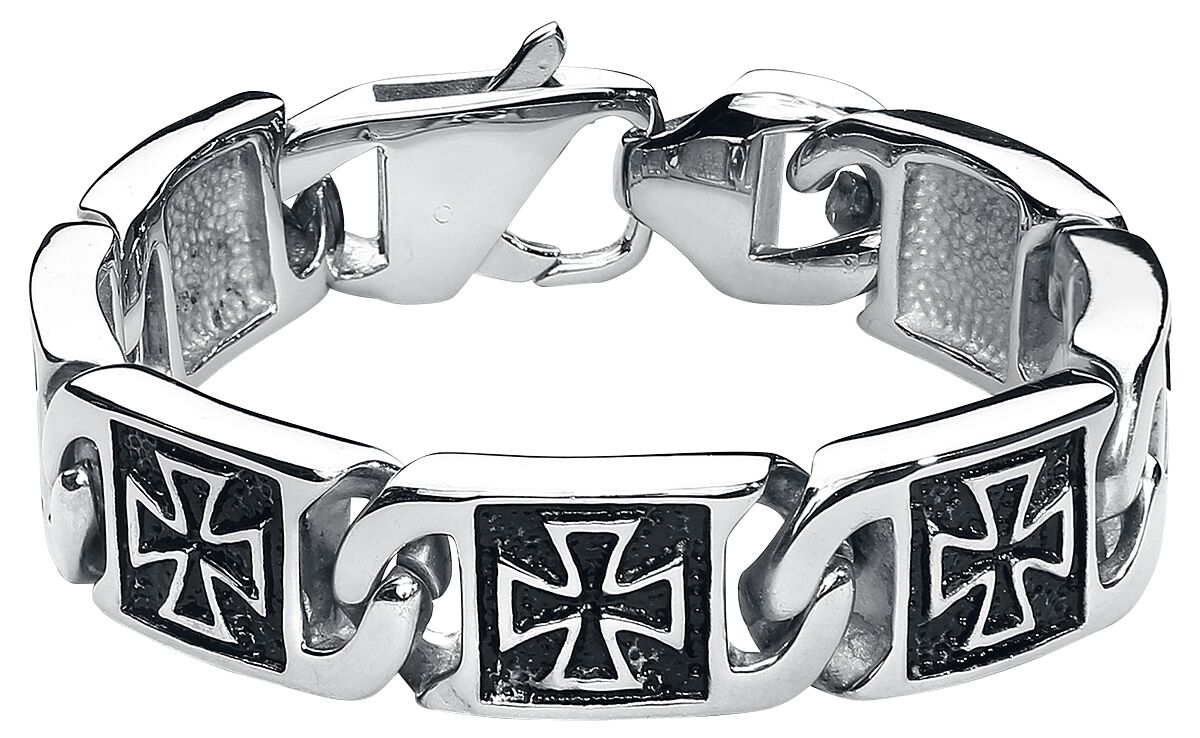 Image of etNox hard and heavy Iron Cross Armband silberfarben