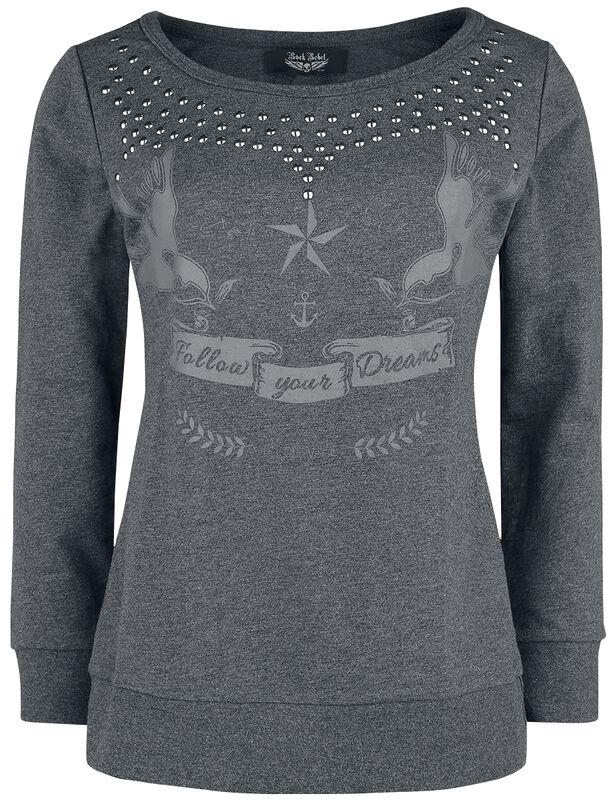 Sweatshirt mit Print und Nieten
