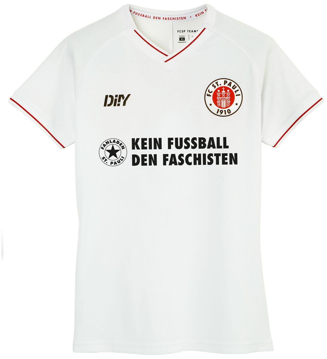 FC St. Pauli Trikot Auswärts tailliert 21/22 - Kein Fussball den Faschisten Trikot weiß SP3321062