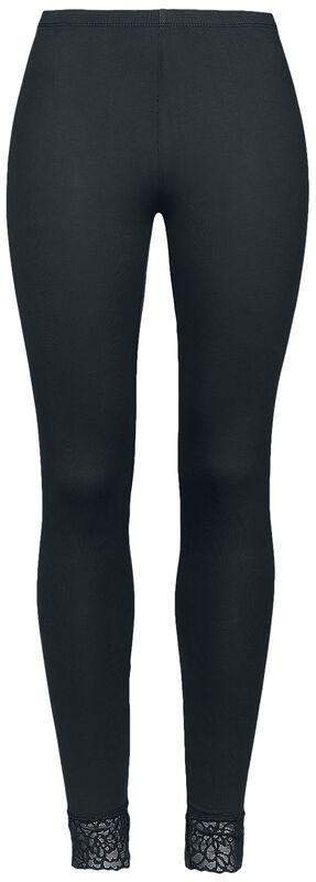 schwarze Leggings mit Spitzensaum Black Premium
