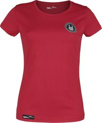 Rotes T-Shirt mit Rundhalsausschnitt