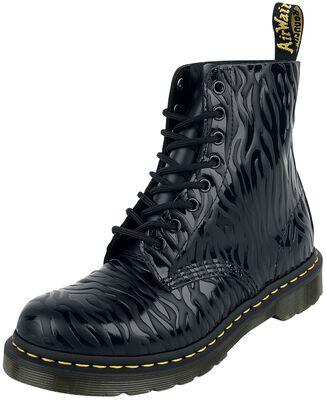 1460 Pascal Black Zebra Gloss Emboss Smooth 8 Eye Boot
