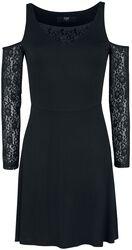 Schwarzes Cold-Shoulder Kleid mit Spitzenärmeln