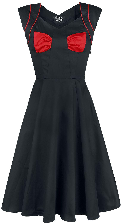 Kleider - H R London Black Red Bow Lady Hepburn Dress Mittellanges Kleid schwarz  - Onlineshop EMP