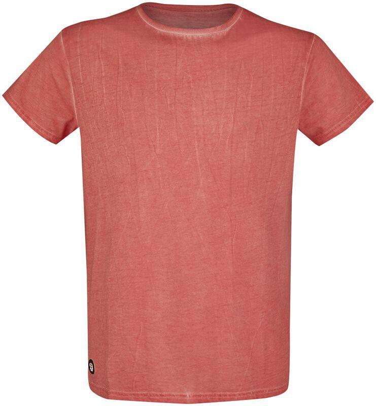 Rotes T-Shirt mit leichter Waschung