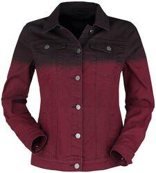 Rote Jeansjacke mit Farbverlauf