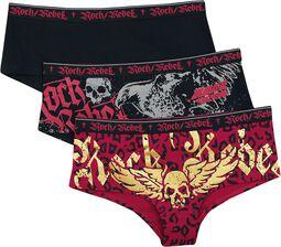 Schwarzes Panty-Set mit Prints