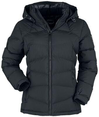Schwarze Winterjacke mit Steppung