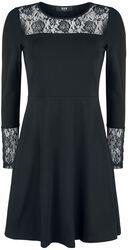Schwarzes langärmliges Kleid mit Spitze