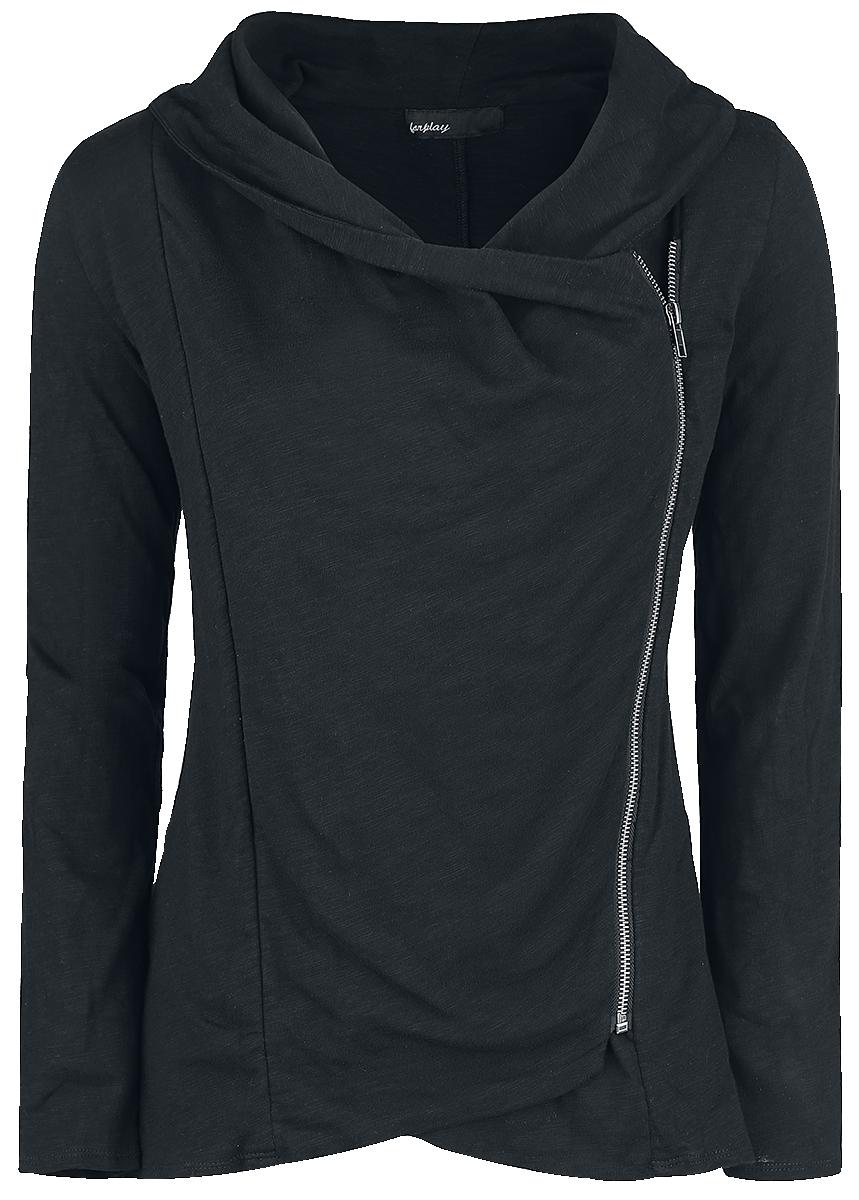 Forplay - Asymmetric Slub Yarn Zipper - Girls' cardigan - black image