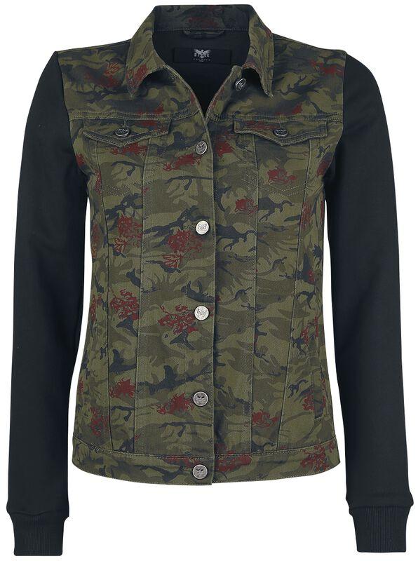 camouflage Jacke mit Sweat-Ärmeln