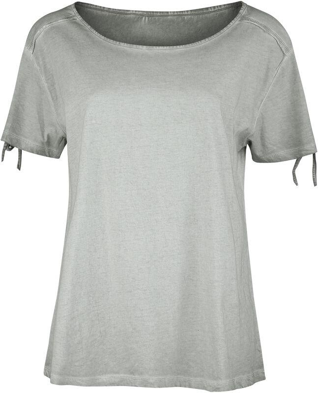 Graues T-Shirt mit Waschung und Zierschnürung