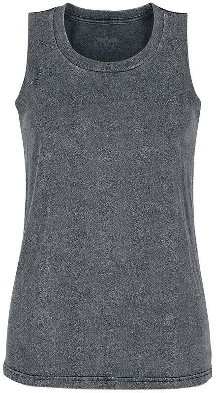 graues Top mit individueller Waschung und Rundhalsausschnitt