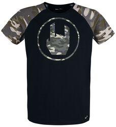 Schwarzes T-Shirt mit Rockhand-Print in camouflage
