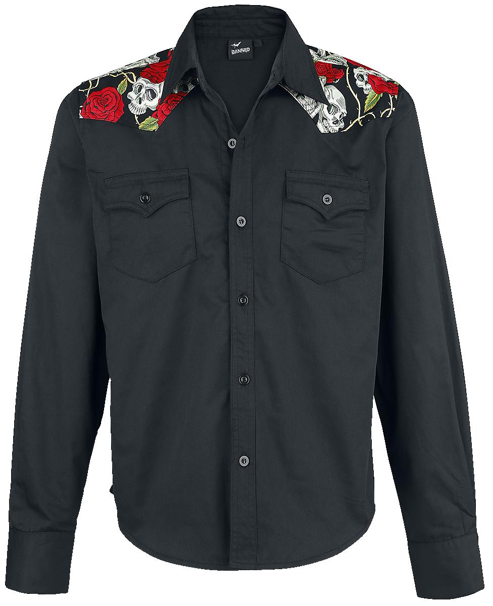 Banned - Skull Rose - Shirt - black image