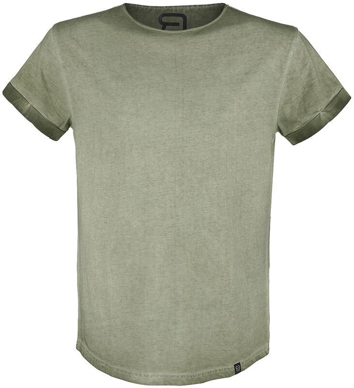 Olives T-Shirt mit leichter Waschung