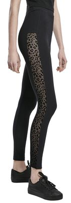 Ladies Flock Lace Stripe Leggings