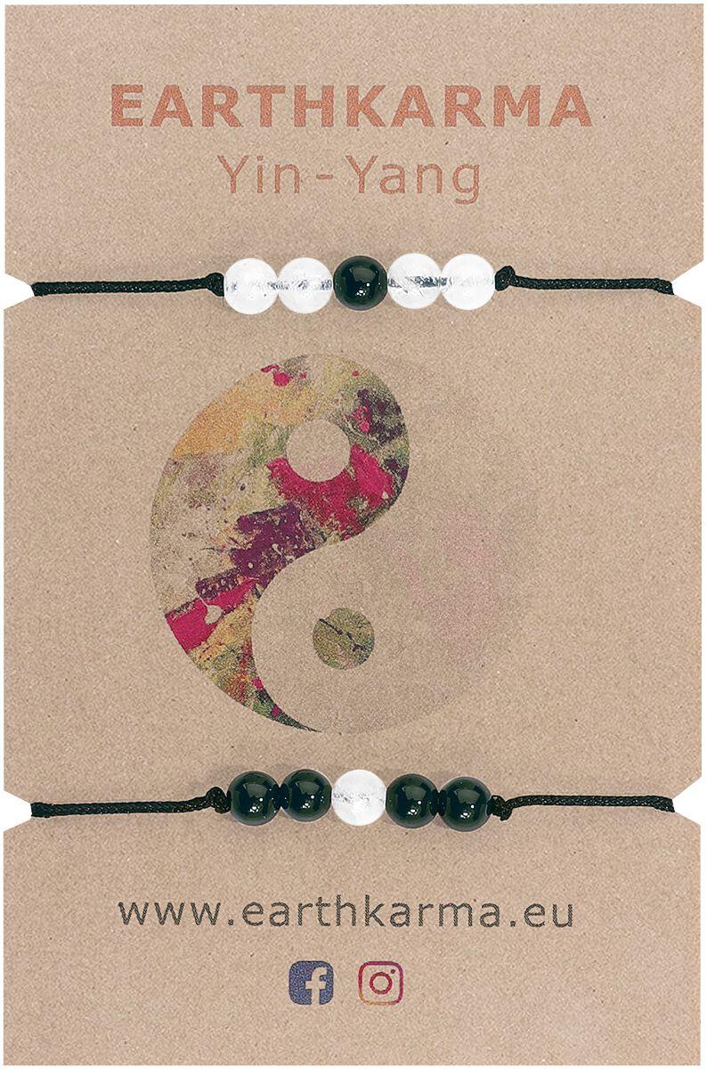 Image of Earthkarma Yin Yang Armband-Set schwarz/weiß