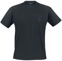 Schwarzes T-Shirt mit Stickerei auf der Brust