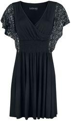 Schwarzes Kleid mit silbrig glänzendem Print auf den Ärmeln