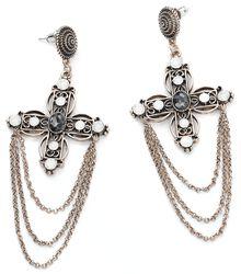 Chained Cross Earrings