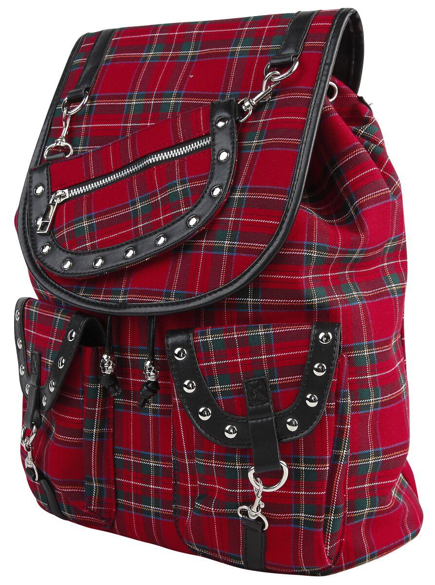Banned Alternative Red Tartan Backpack Rucksack schwarz rot BG7152