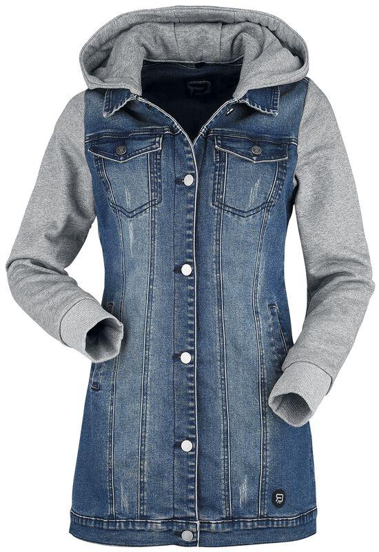 Jeansjacke mit Sweatärmeln und Kapuze
