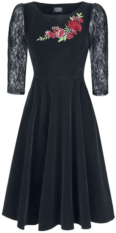 Kleider für Frauen - H R London Divine Vlevet Swing Dress Kleid schwarz  - Onlineshop EMP