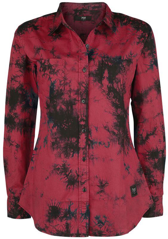 rotes Langarmhemd mit Batikmuster