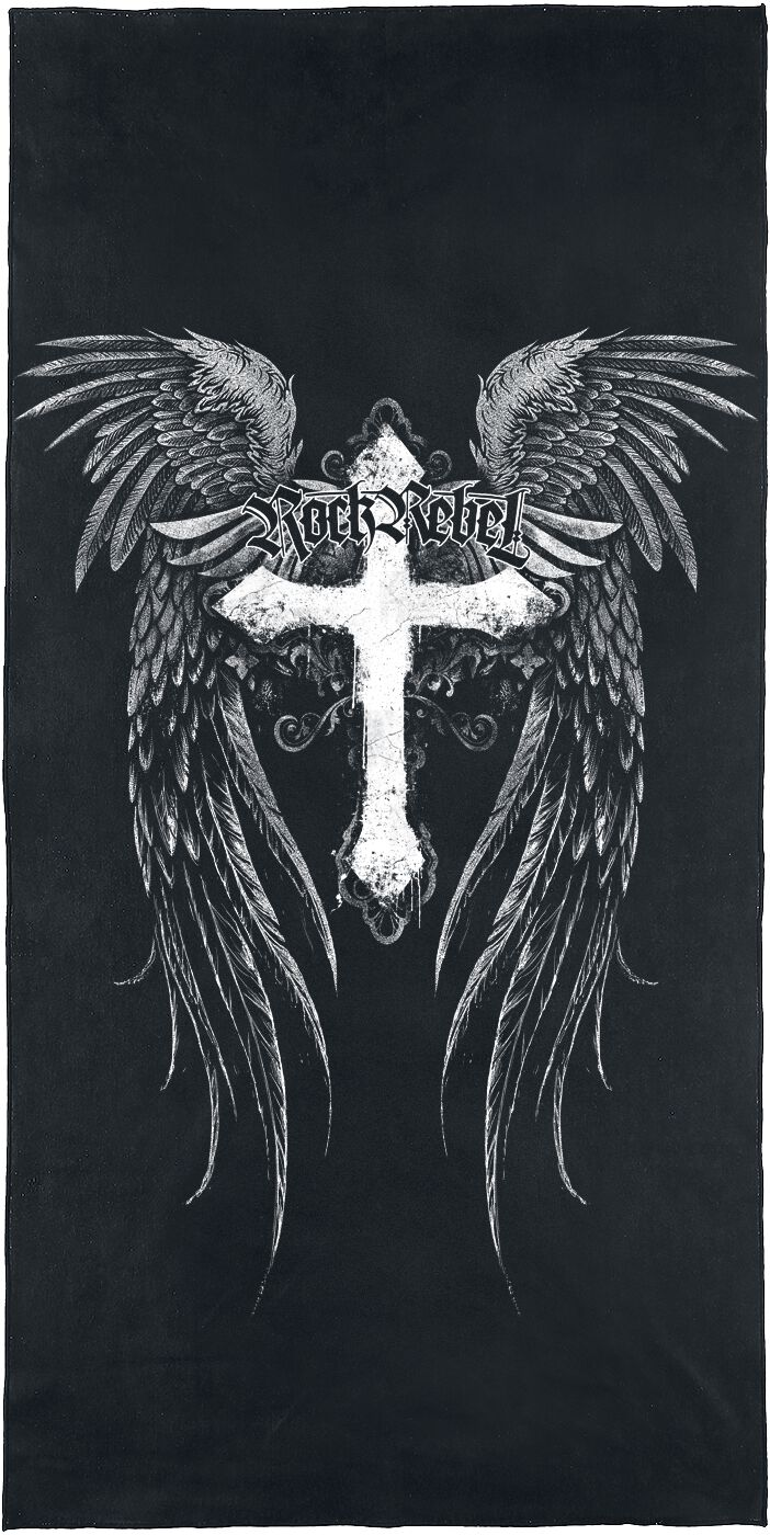 Image of Rock Rebel by EMP Cross With Wings Badetuch schwarz/weiß