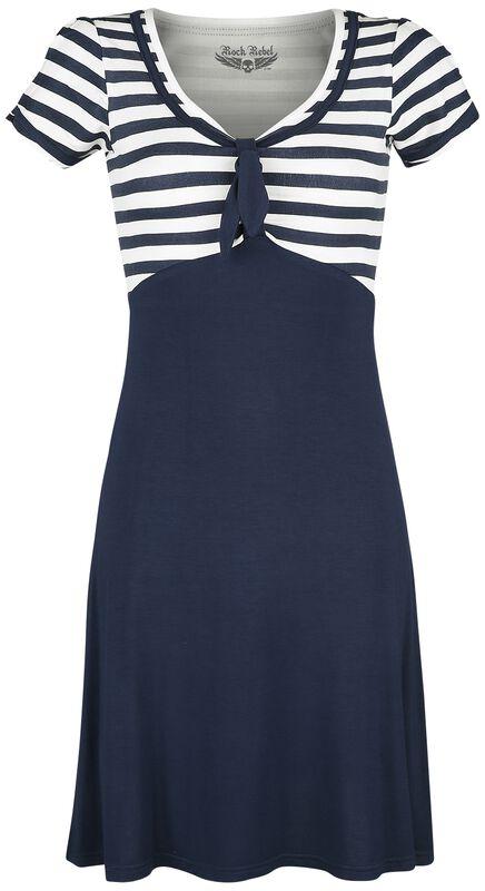 Blau/weißes Kleid im 50er Stil