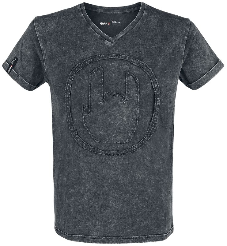 Graues T-Shirt mit Waschung und Rockhand-Applikation