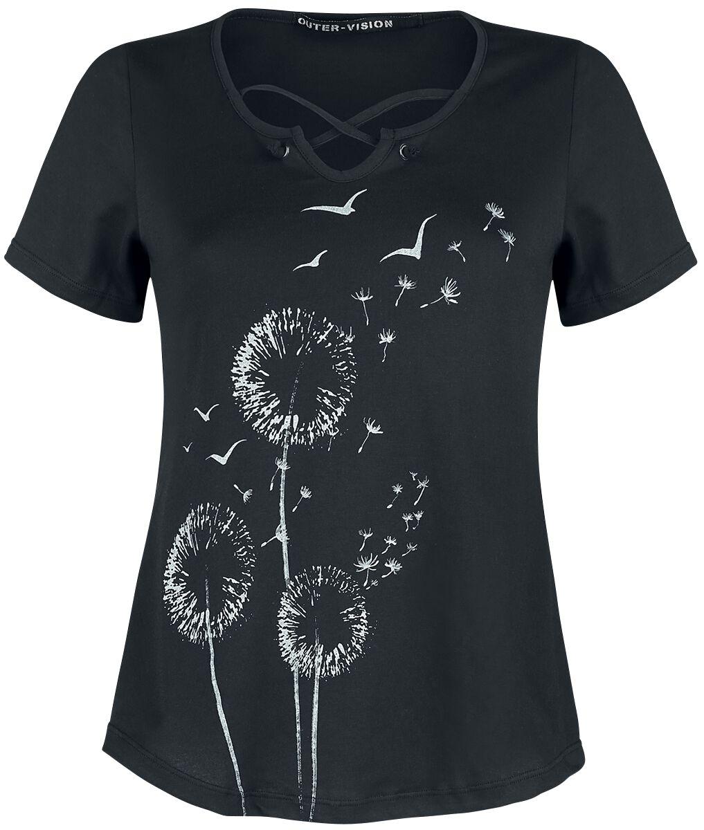 Outer Vision Dandelion Dreams T-Shirt schwarz 10784-OV Woman's T-Shirt Claudia Dandelion Dreams